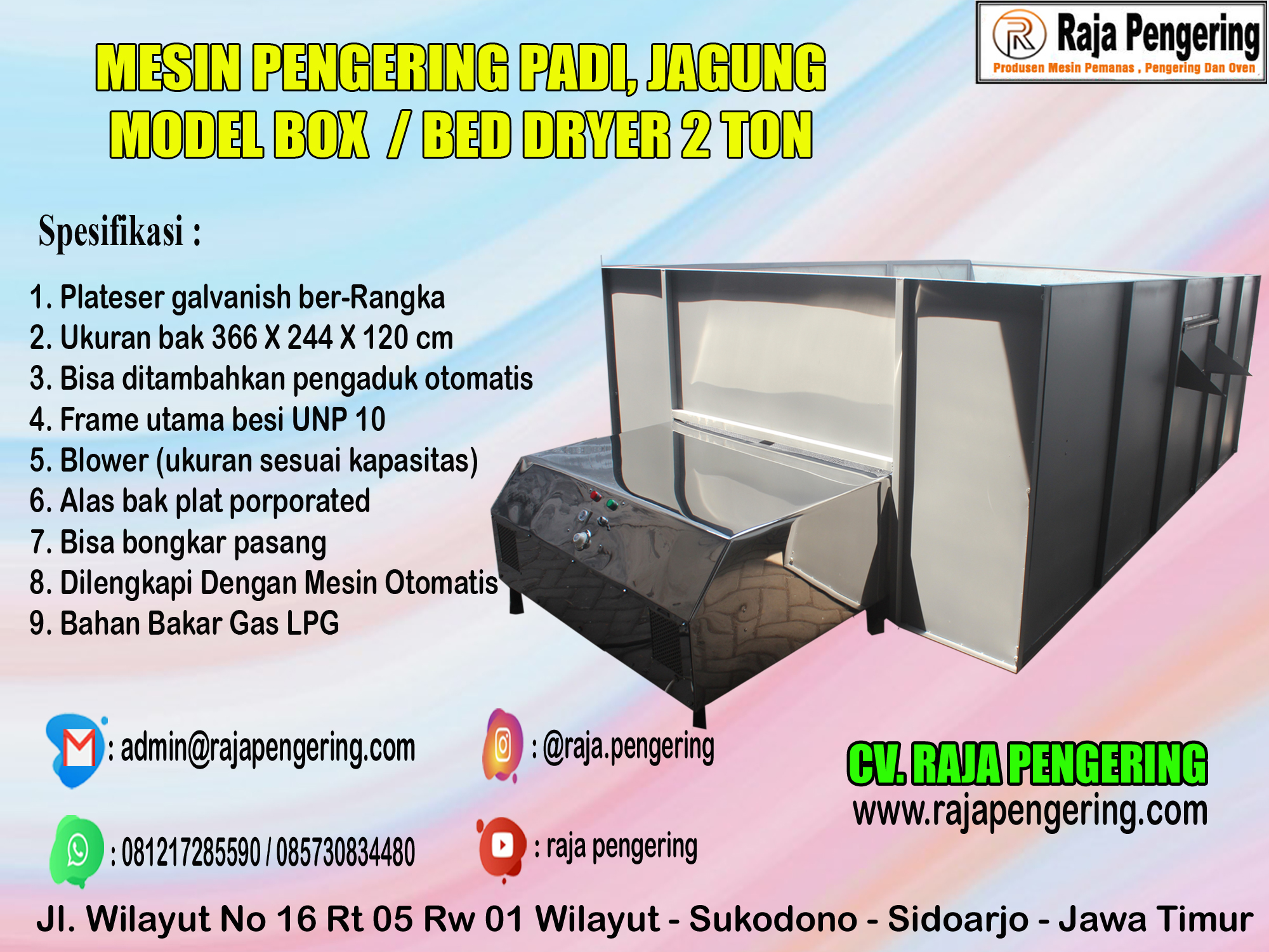 mesin bed dryer, mesin box dryer, mesin pengering padi
