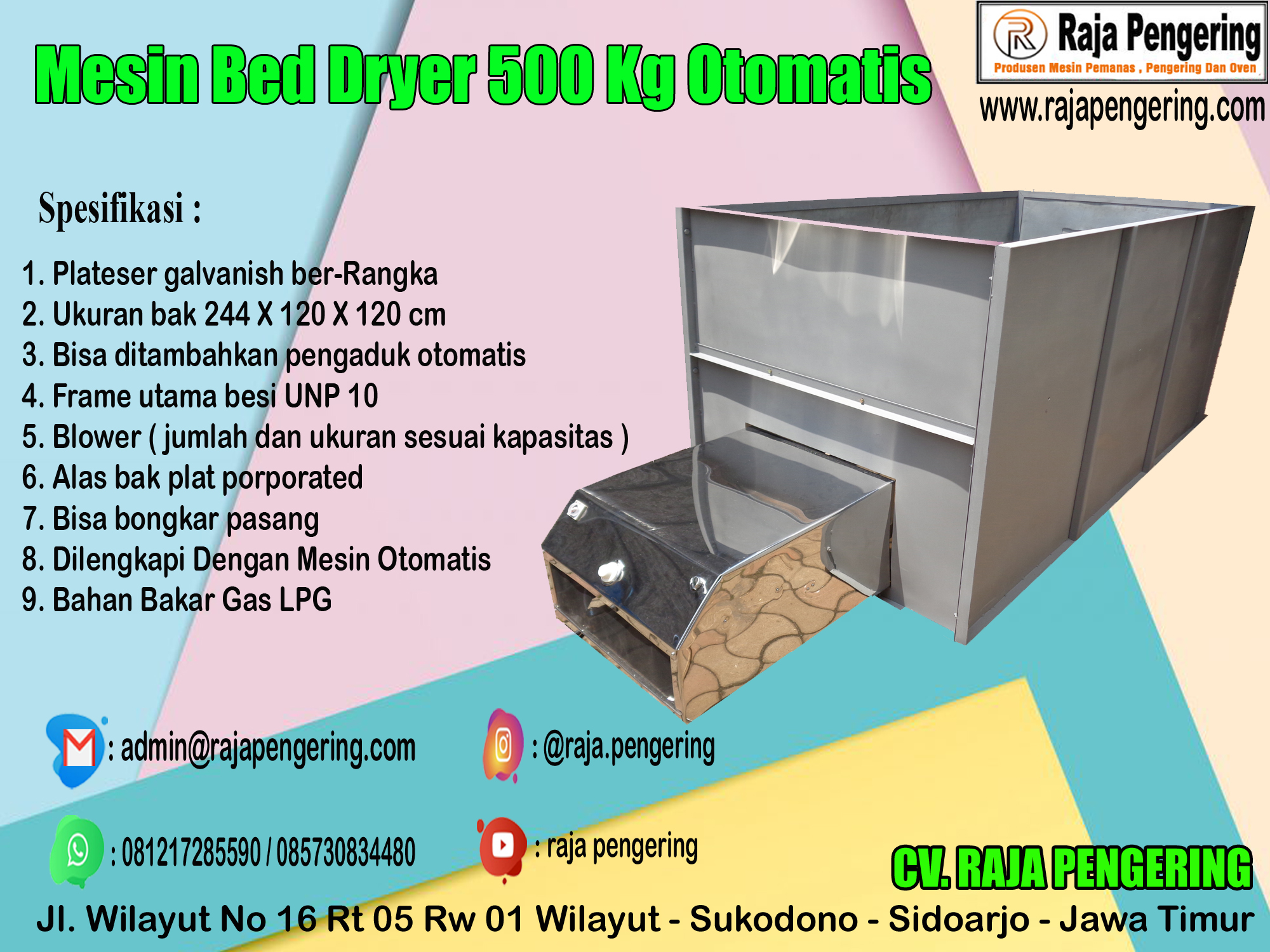 box dryer, bed dryer, mesin pengering padi
